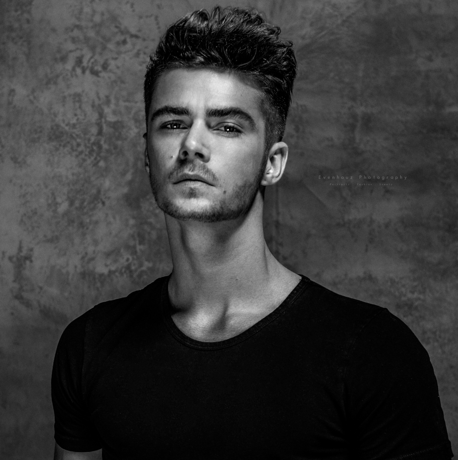 black and white male model